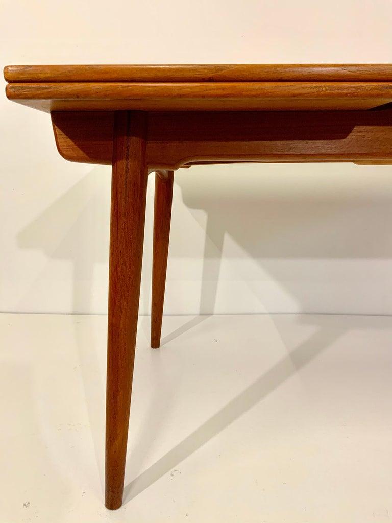 AT-312 Hans Wegner for Andreas Tuck Oak & Teak Midcentury Dining Table, Denmark For Sale 1