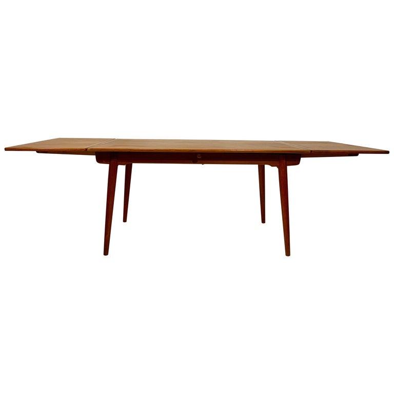 AT-312 Hans Wegner for Andreas Tuck Oak & Teak Midcentury Dining Table, Denmark For Sale