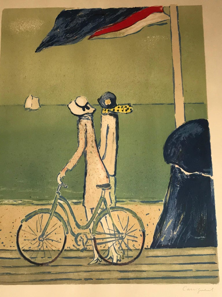 Artist Proof lithograph signed by the painter and marked E.A (epreuve d'artiste) This piece has a matching one. See last picture.  Cassigneul was born in 1935 in Paris. He studied at l'École Nationale Supérieure des Beaux-Arts de Paris and was