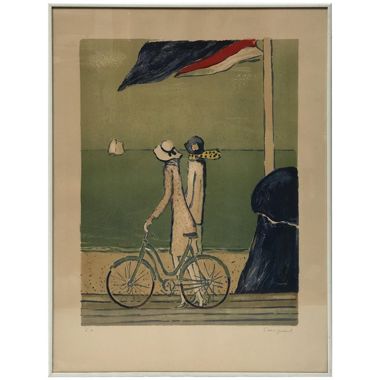 """""""At the Beach"""" Artist Proof by French Painter Jean-Pierre Cassigneul #1 For Sale"""