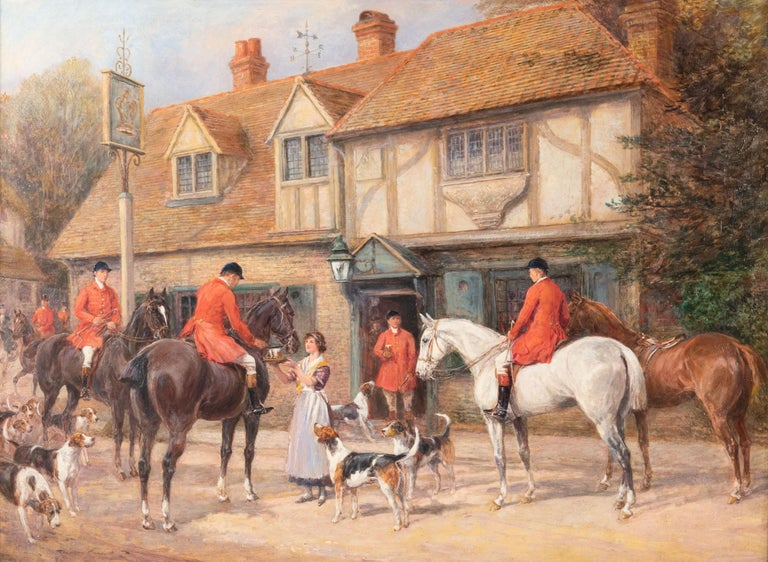 Heywood Hardy  (British, 1843-1933)  At the Crown Inn  Heywood Hardy was a painter and etcher of animals, portraits, genre and sporting subjects. In 1864 he entered the Ecole des Beaux Arts. He returned to England in 1868 and found he was in