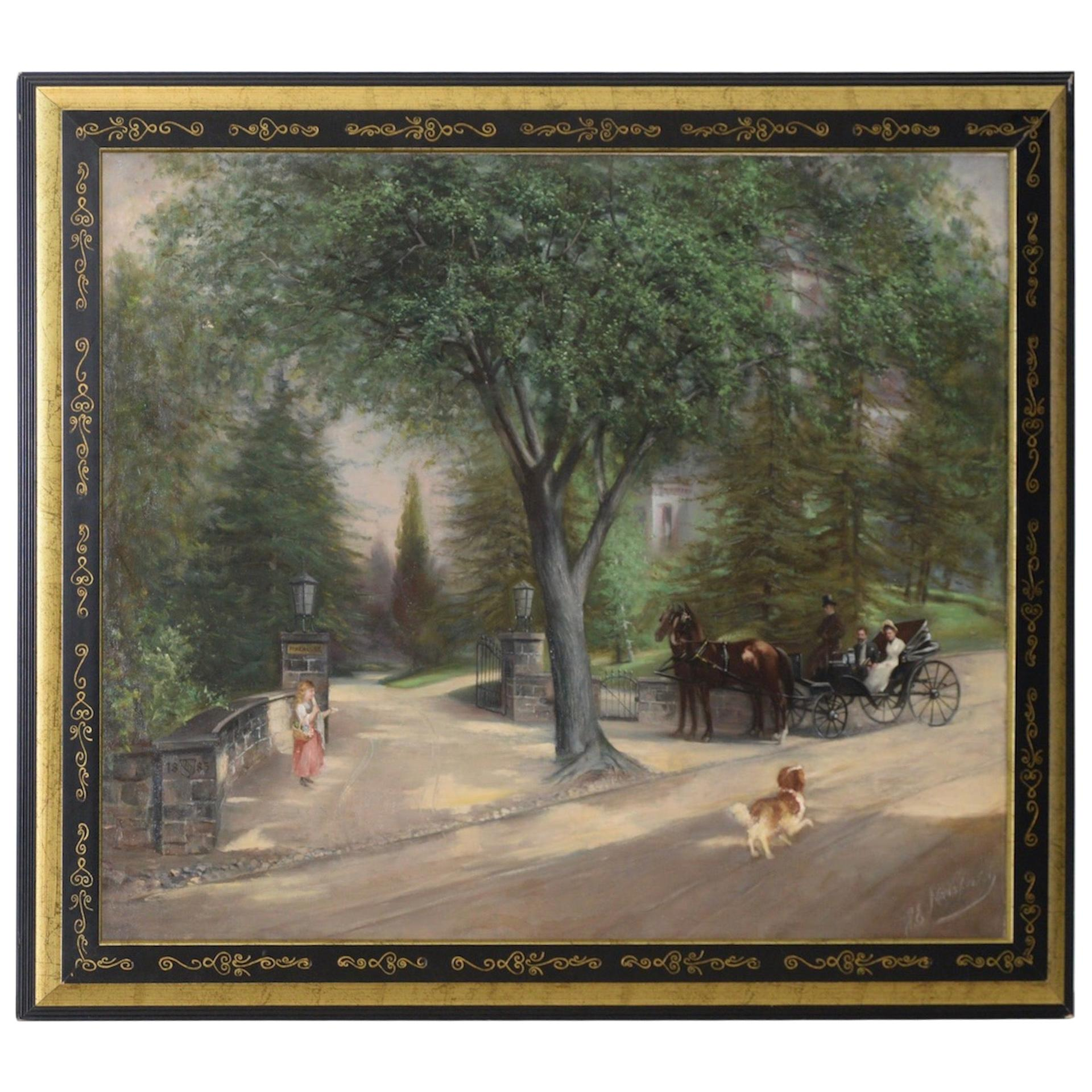 """""""At the Gates of Pinehurst"""" Original Oil Painting by Mansfield, circa 1885"""