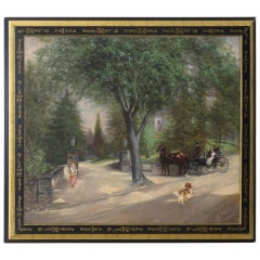 """At the Gates of Pinehurst"" Original Oil Painting by Mansfield, circa 1885"