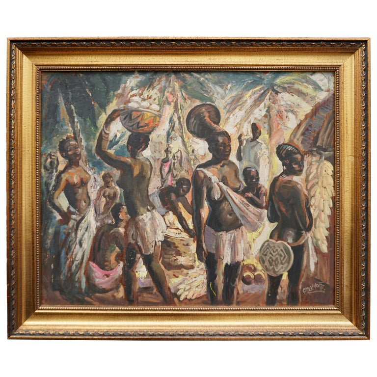 """at the Market, Congo,"" Large Art Deco Master Painting by Charles Melikoff For Sale"