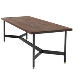 AT11, Handmade Solid Walnut & Blackened Steel Dining Table, Work Table, Desk