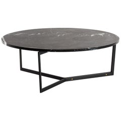 AT14, Round Handcrafted Coffee Table with Blackened Steel Base and Marble Top