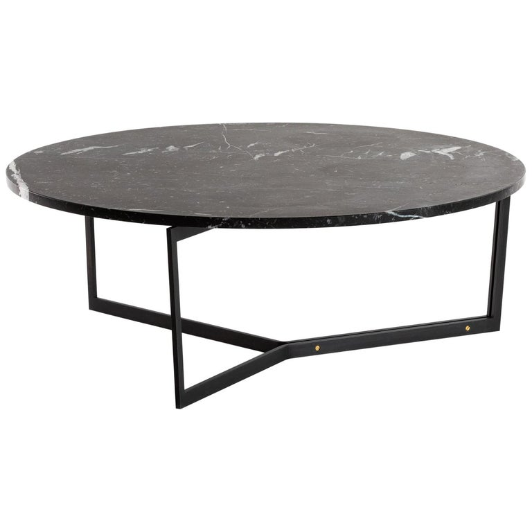At14 Round Handcrafted Coffee Table With Blackened Steel