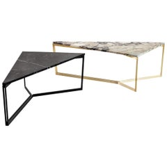AT14, Triangular Handmade Coffee Table with Blackened Steel Base and Marble Top