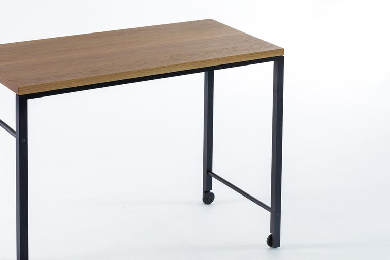 Modern AT16 White Oak Writing Desk, Occasional Table, with Blackened Steel and Castors For Sale