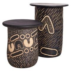 """Atang Tshikare, """"Ngwana Child"""" and """"Ngwedi Moon"""", Clay Sculptural Seat"""