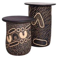"Atang Tshikare, ""Ngwana Child"" and ""Ngwedi Moon"", Clay Side Tables"