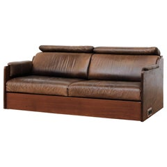 Ate van Apeldoorn Custom Solid Iroko Loveseat with Leather Cushions and Outlet