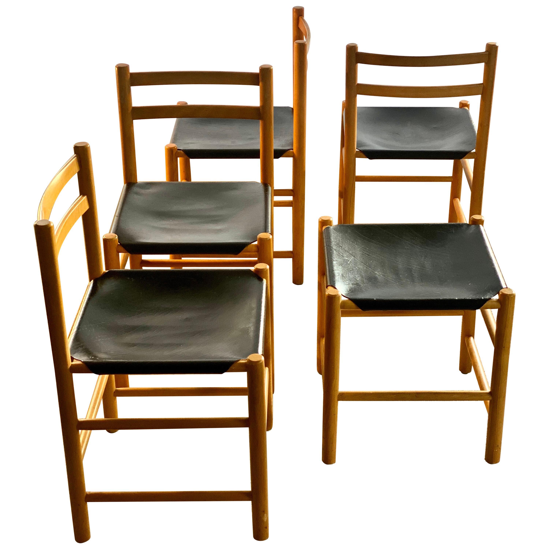 Ate Van Apeldoorn for Houtwerk Hattem Four Black Leather Dining Chairs + Hocker