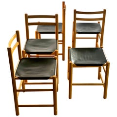 Ate Van Apeldoorn for Houtwerk Hattem Four Black Leather Dining Chairs + Hocker