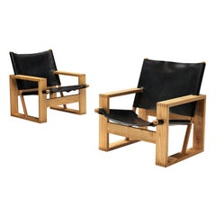 Ate van Apeldoorn Lounge Chair in Ash and Black Leather