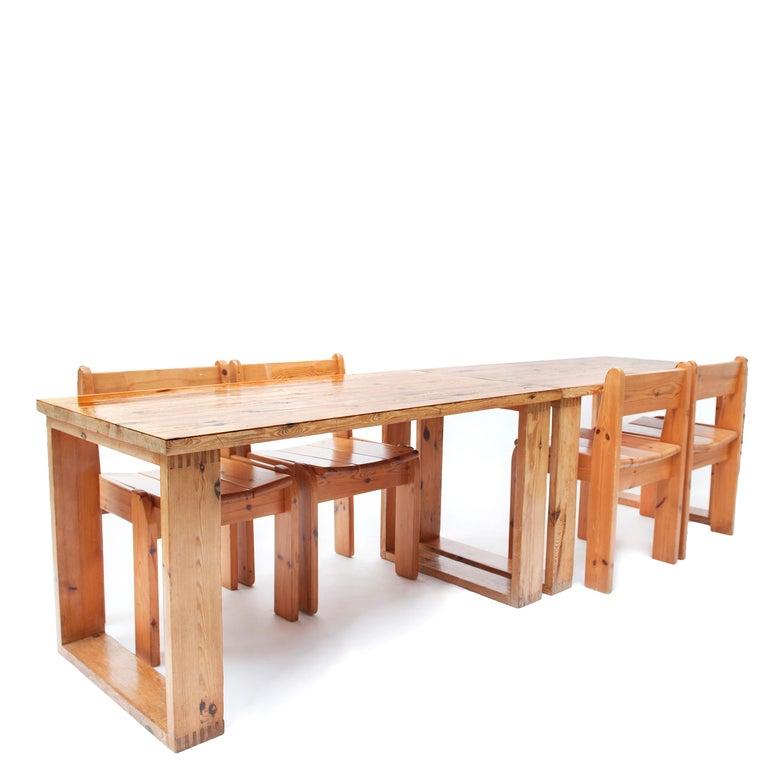 Pine Dining Chairs by Ate van Apeldoorn, 1970s For Sale 2
