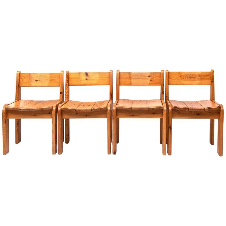 Pine Dining Chairs by Ate van Apeldoorn, 1970s For Sale