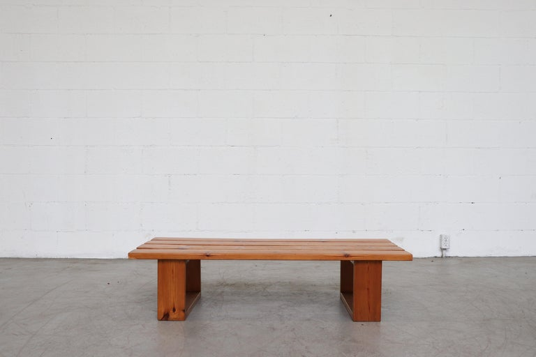 Ate Van Apeldoorn pine slat bench. Lightly refinished pine, In good original condition with minimal signs of visual wear consistent with age and use.