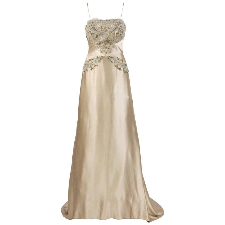 Vintage Wedding Dresses For Sale.Atelier Aimee Beige Vintage Wedding Dress 2000s