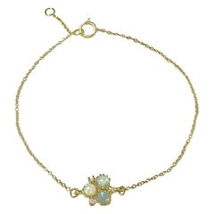 Atelier All Day 14 Karat Gold and Opal and Diamond Chain Bracelet