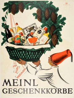 Original Vintage Poster Julius Meinl Geschenkkorbe Gift Basket Food Drink Hamper