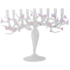 Cherry blossom Menorah glass sculpture, designed by Simone Crestani