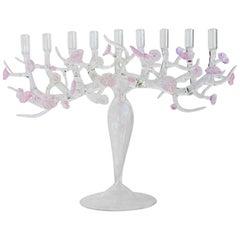 Atelier Crestani, Cherry Blossom Menorah Glass Sculpture, Made in Italy