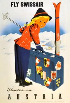 Original Vintage Poster Fly Swissair Winter In Austria Osterreich Skiing Sport