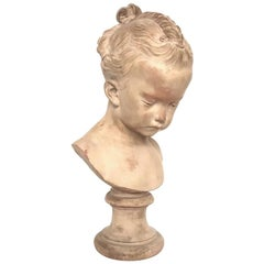 Atelier Jacques Saly Young Girl Bust, Terracotta, 1770s, France