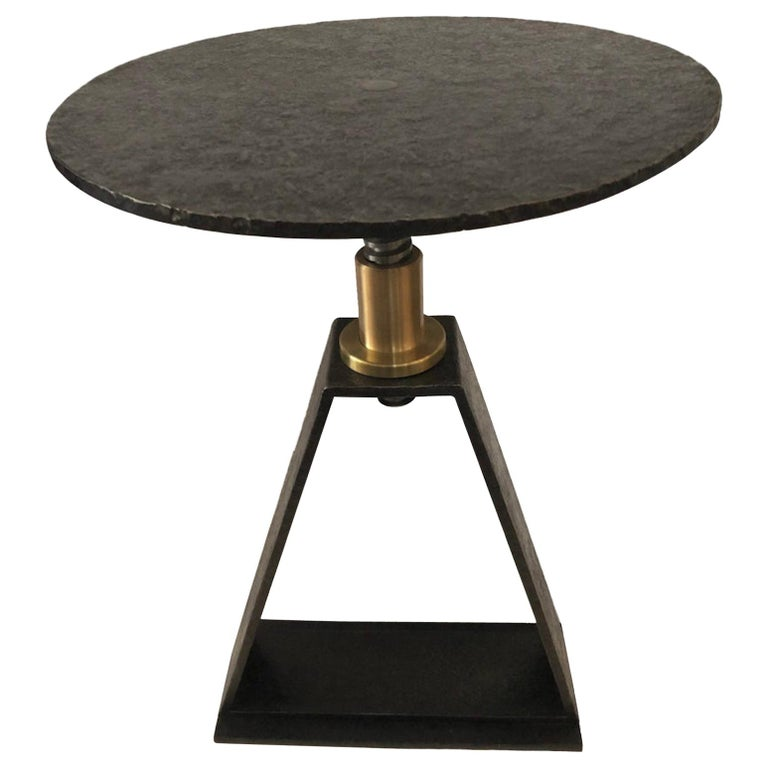 Atelier Linné Delta Side Table in Pure Iron and Brass For Sale