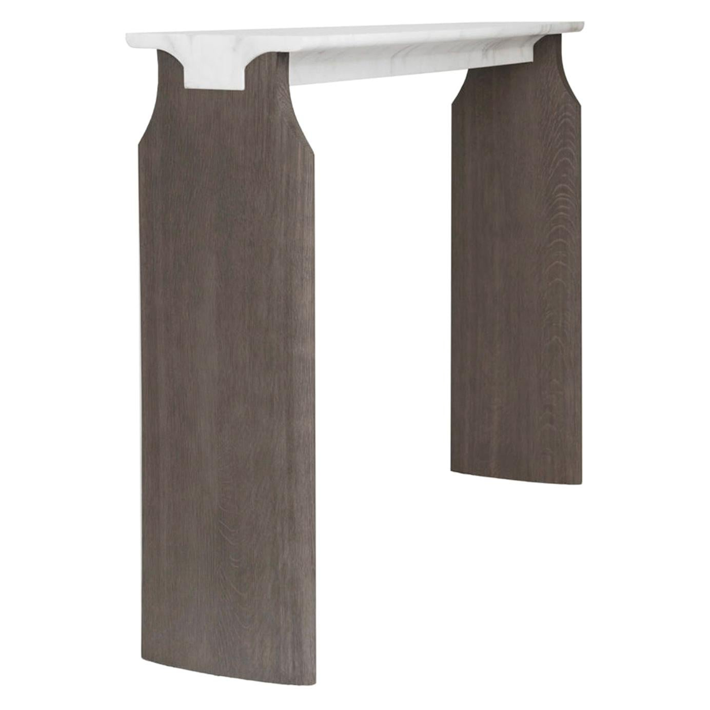 Atelier Linné Jay Console in Calacata Carved Marble and Brushed Tinted Oak