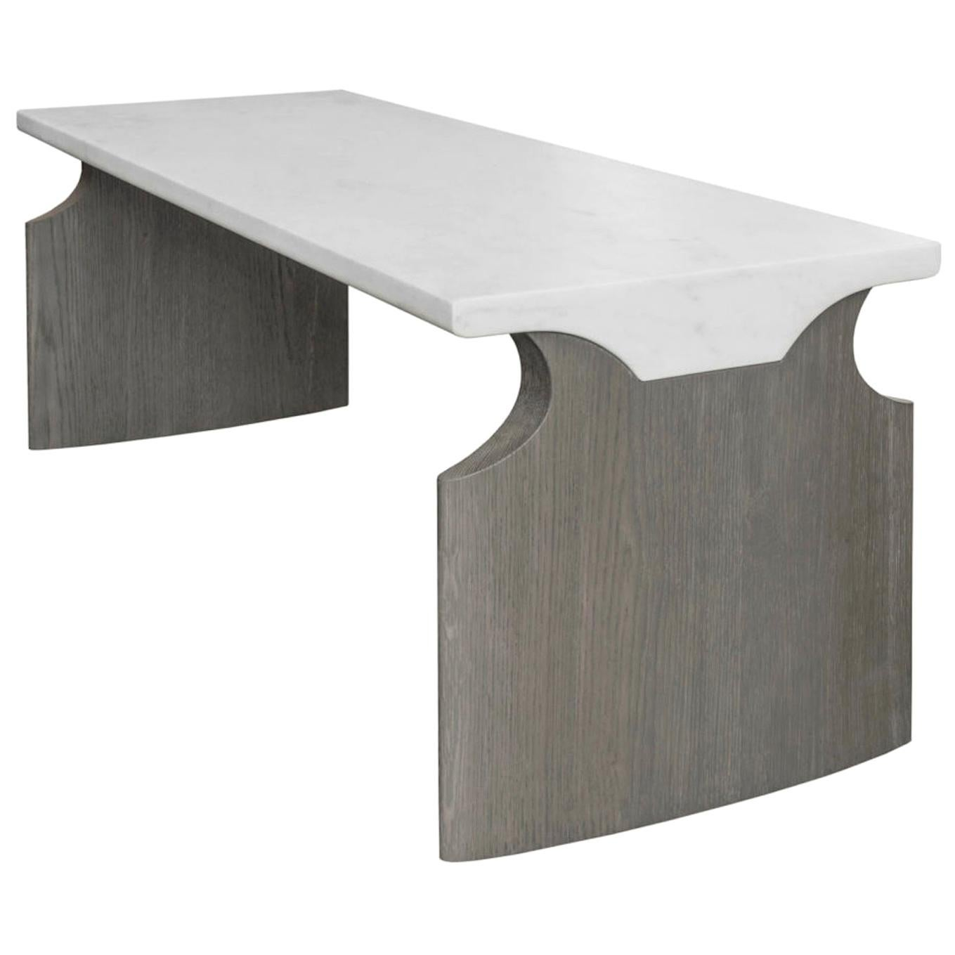 Atelier Linné Jay Table in Calacata Carved Marble and Brushed Tinted Oak