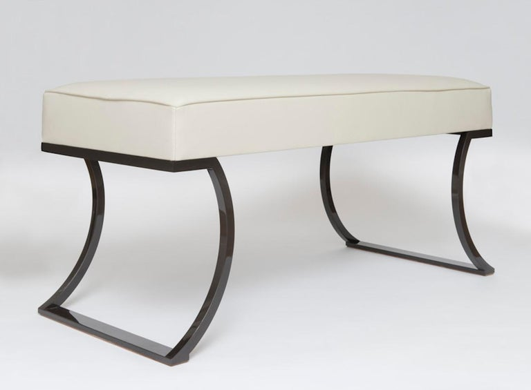 Minimalist Atelier Linné Oreille Bench in Leather and Iron For Sale