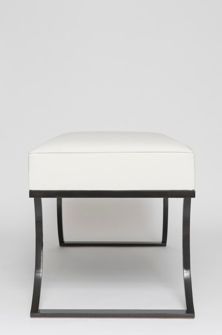 French Atelier Linné Oreille Bench in Leather and Iron For Sale