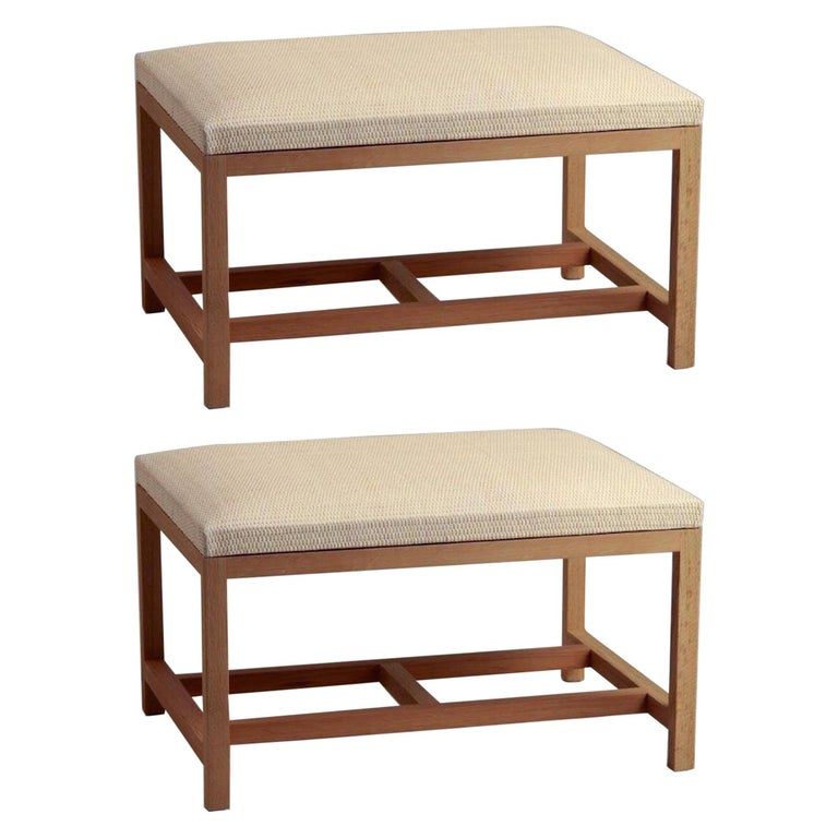 Atelier Linné Pair of H Benches in Leather and Tinted Oak For Sale