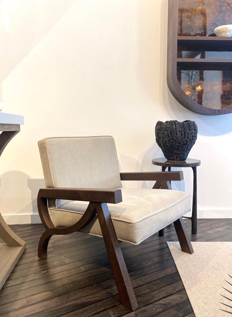 Minimalist Atelier Linné Pi Armchair in Oak and Fabric For Sale