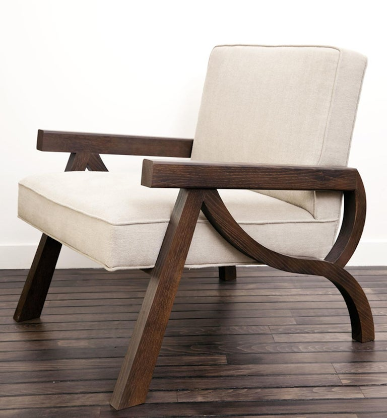 French Atelier Linné Pi Armchair in Oak and Fabric For Sale