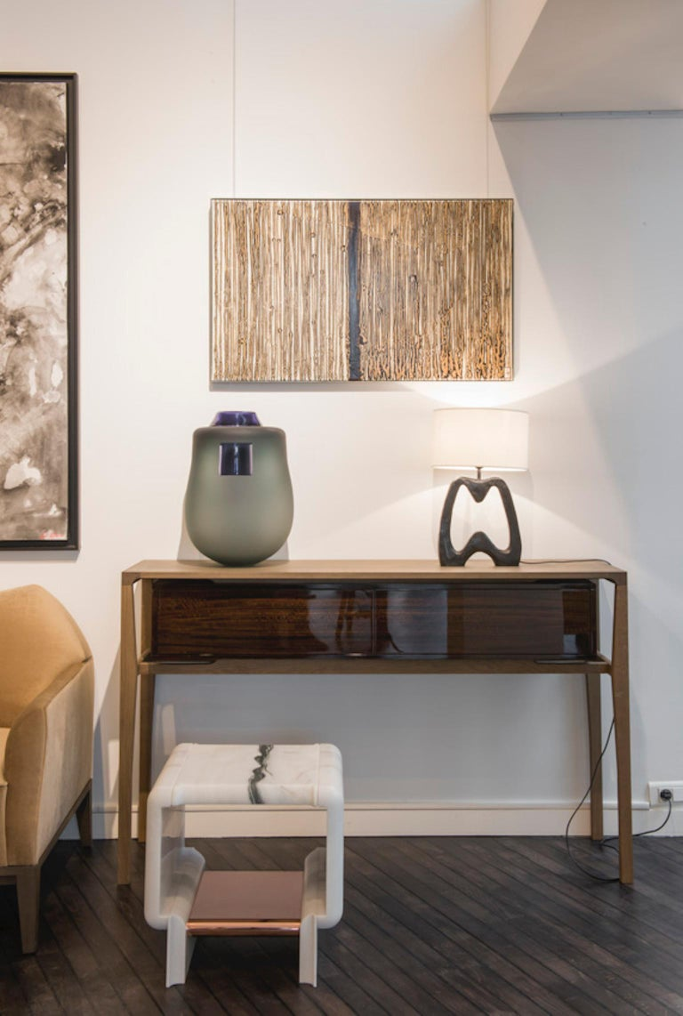 Minimalist Atelier Linné Spine Console in Tinted Oak and Glossy Eucalyptus For Sale