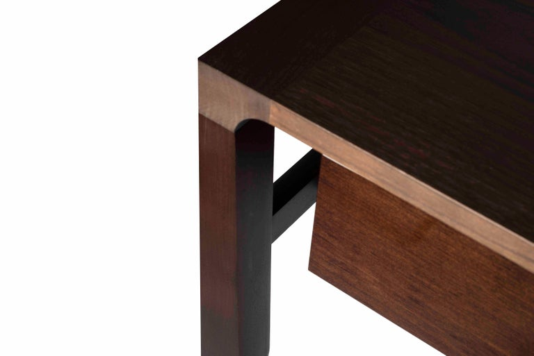 French Atelier Linné Spine Console in Tinted Oak and Glossy Eucalyptus For Sale