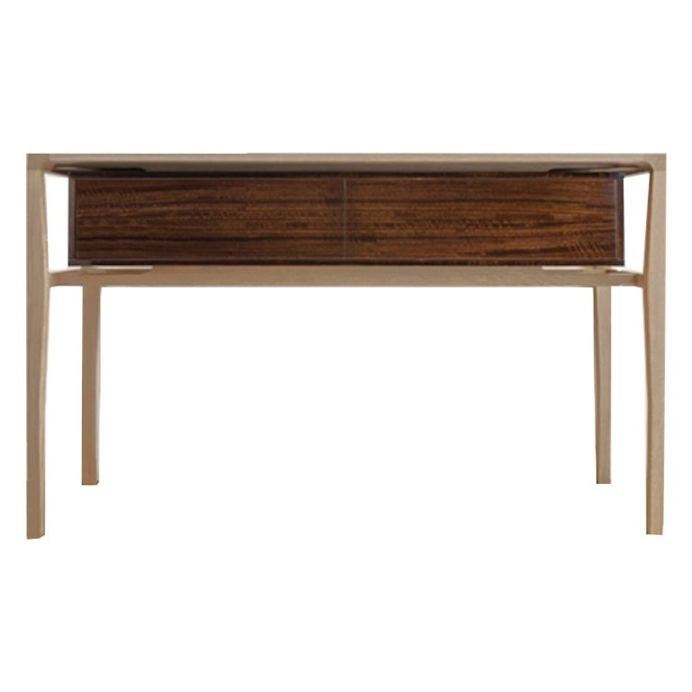 Atelier Linné Spine Console in Tinted Oak and Glossy Eucalyptus For Sale