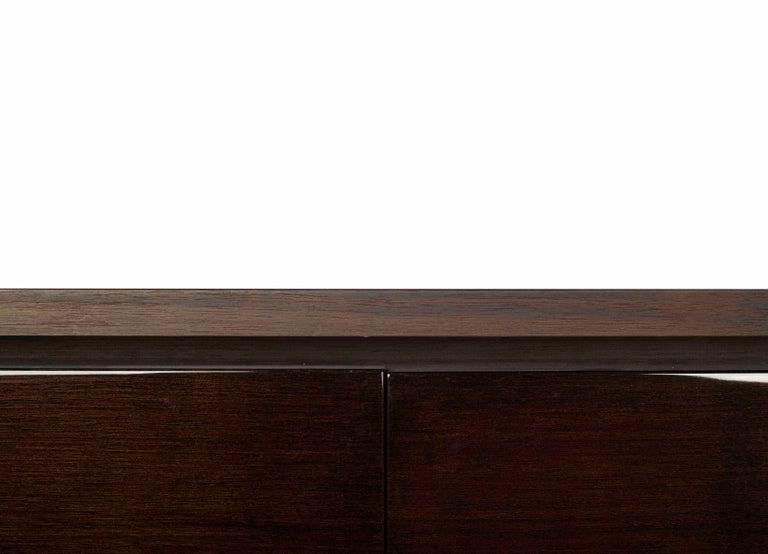 Minimalist Atelier Linné Spine Desk in Dark Walnut and Drawers in Glossy Walnut For Sale