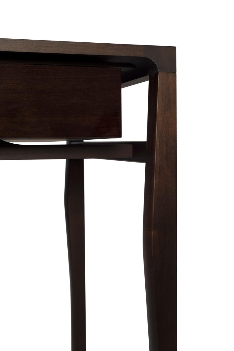 French Atelier Linné Spine Desk in Dark Walnut and Drawers in Glossy Walnut For Sale