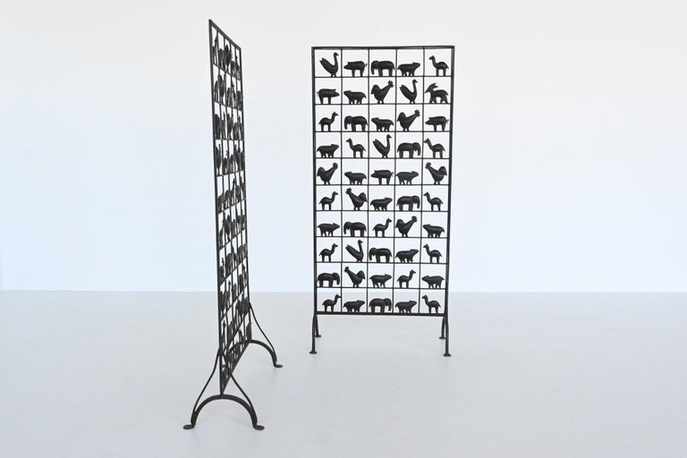 French Atelier Marolles Wrought Iron Animal Screens, France, 1950 For Sale
