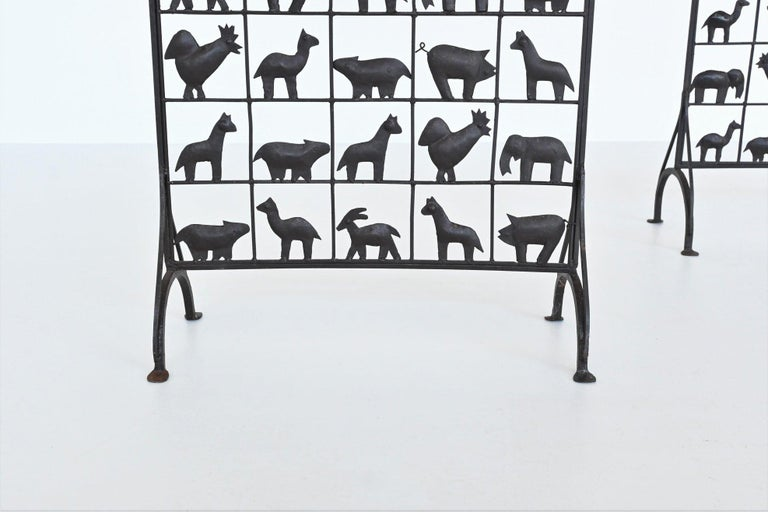 Atelier Marolles Wrought Iron Animal Screens, France, 1950 In Good Condition For Sale In Etten-Leur, NL