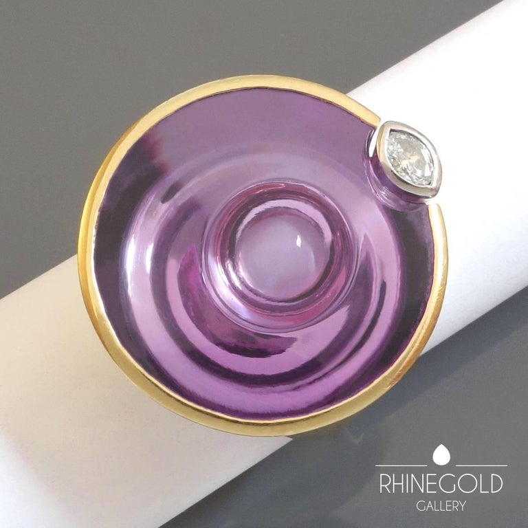 Women's Atelier Munsteiner Amethyst Diamond Yellow and White Gold Cocktail Ring For Sale