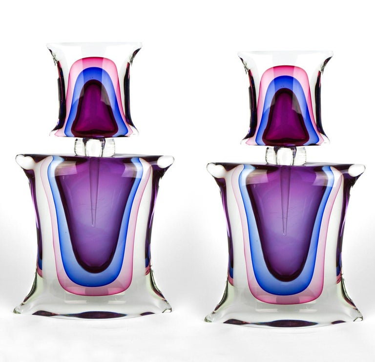 Atelier Oball Mid-Century Modern Two of Murano Glass Bottles Sommerso, 1994s For Sale 4