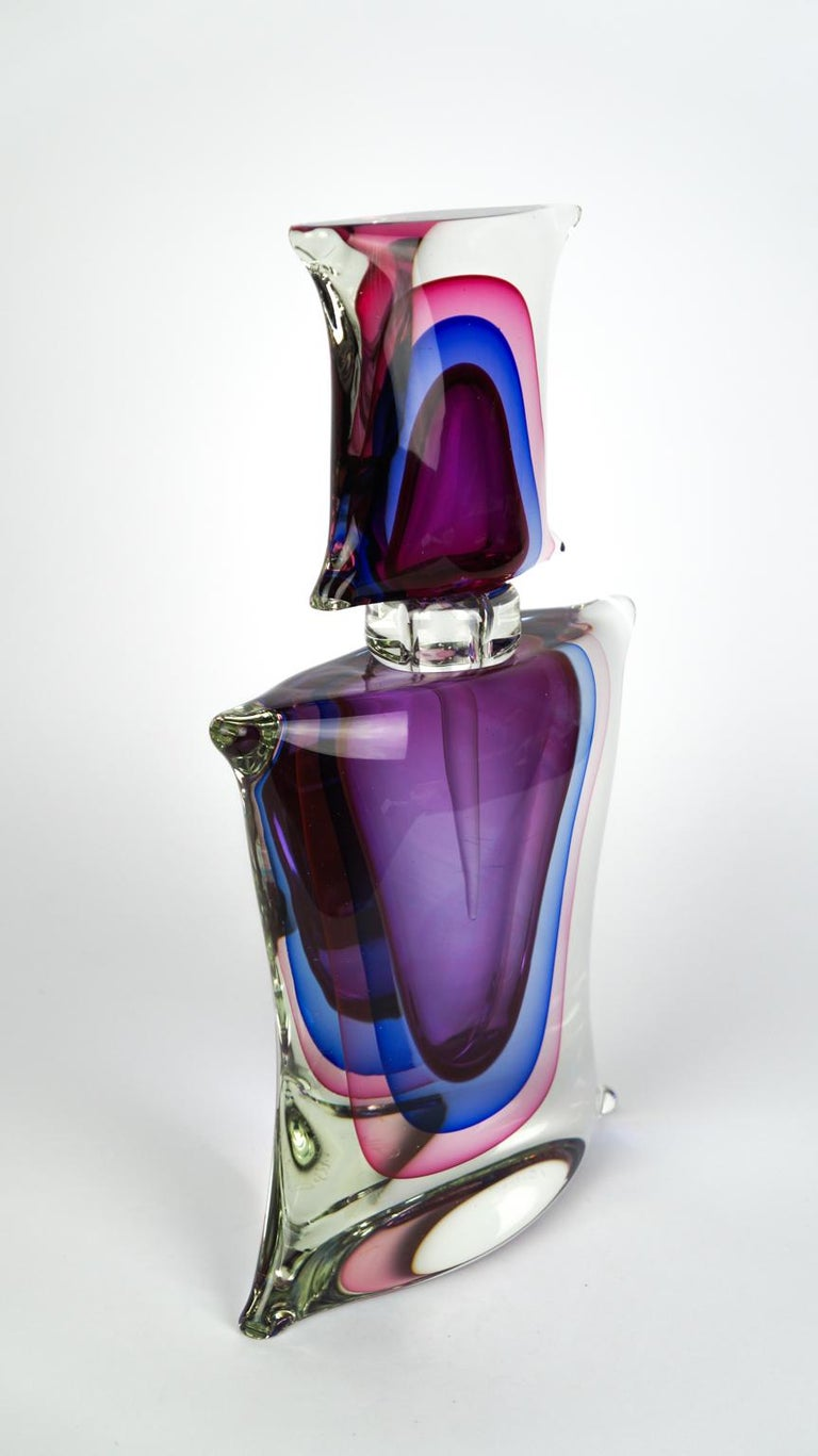 Atelier Oball Mid-Century Modern Two of Murano Glass Bottles Sommerso, 1994s For Sale 6