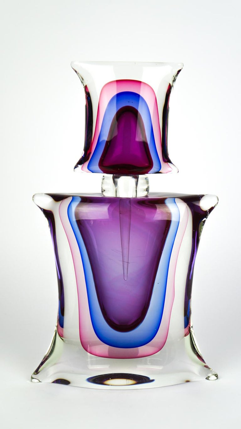 Atelier Oball Mid-Century Modern Two of Murano Glass Bottles Sommerso, 1994s For Sale 11