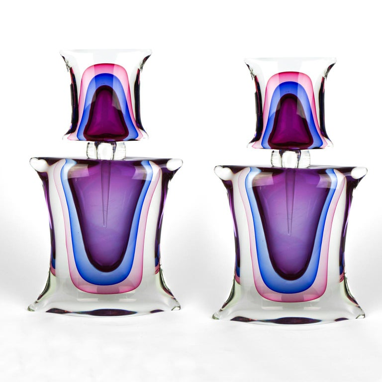 Atelier Oball Mid-Century Modern Two of Murano Glass Bottles Sommerso, 1994s For Sale 14