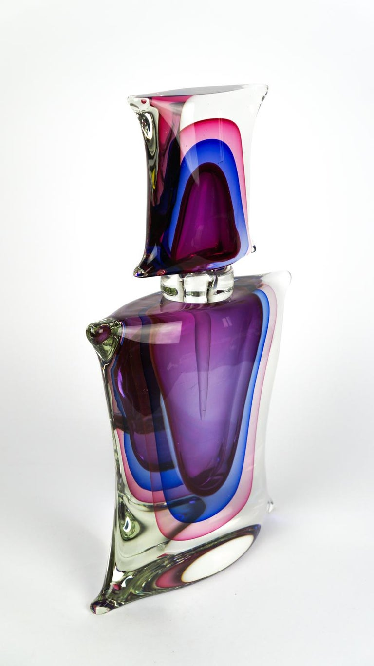 Atelier Oball Mid-Century Modern Two of Murano Glass Bottles Sommerso, 1994s For Sale 2